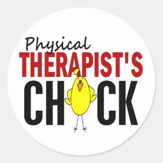 PHYSICAL THERAPIST'S CHICK ROUND STICKER