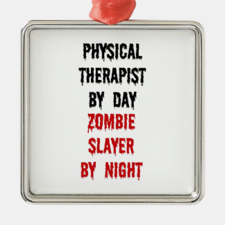 Physical Therapist Zombie Slayer Silver-Colored Square Ornament