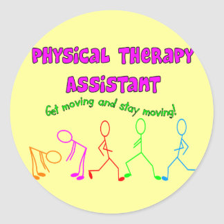 Physical Therapy Assistant Stick People Design Round Sticker