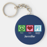 Physical Therapy Blue Custom Basic Round Button Keychain
