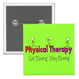 Physical Therapy Stick People Design 2 Inch Square Button