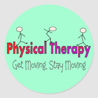 Physical Therapy Stick People Design Round Sticker