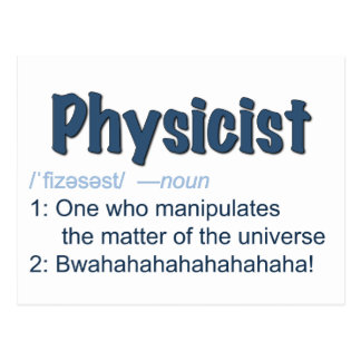 physicist definition postcard - blue & white
