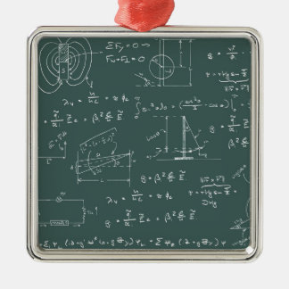 Physics diagrams and formulas Silver-Colored square ornament