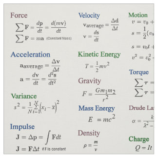Physics Formulas Fabric in Color Over White