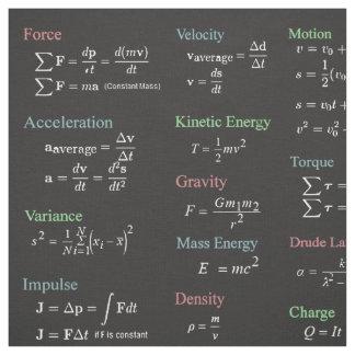 Physics Formulas Fabric Over Black