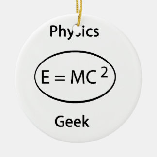 Physics geek round ceramic ornament