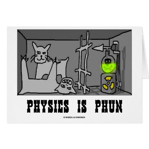 Physics Is Phun (Fun) (Schrödinger's Cat Thought) Greeting Card