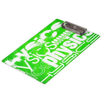 Physics; Neon Green Stripes Clipboard