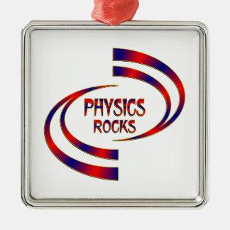 Physics Rocks Silver-Colored Square Ornament