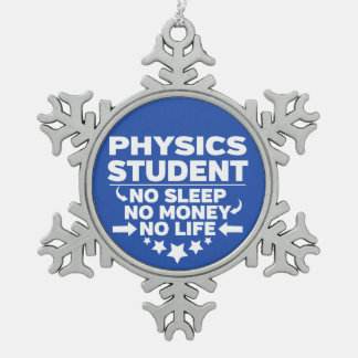 Physics Student No Life or Money Snowflake Pewter Christmas Ornament