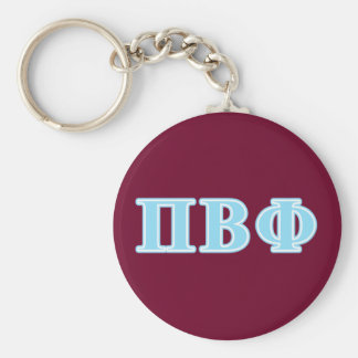 Pi Beta Phi Blue Letters Basic Round Button Keychain