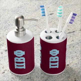 Pi Beta Phi Blue Letters Soap Dispenser And Toothbrush Holder