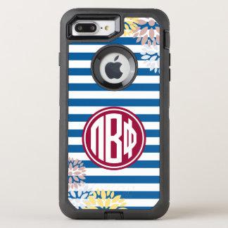 Pi Beta Phi | Monogram Stripe Pattern OtterBox Defender iPhone 8 Plus/7 Plus Case