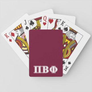Pi Beta Phi White and Maroon Letters Playing Cards