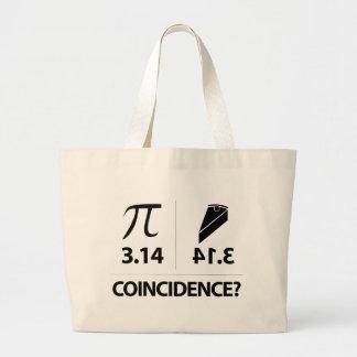 Pi Coincidence math joke Large Tote Bag