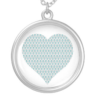 Pi Complex Heart Silver Plated Necklace