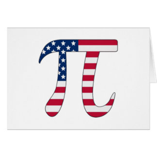 Pi Day American flag, pi symbol Card