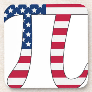 Pi Day American flag, pi symbol Coaster