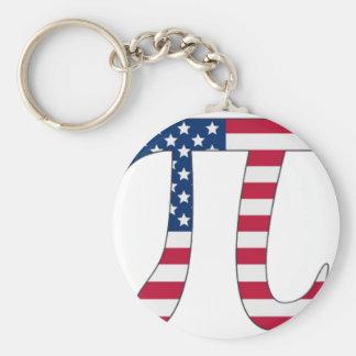 Pi Day American flag, pi symbol Keychain