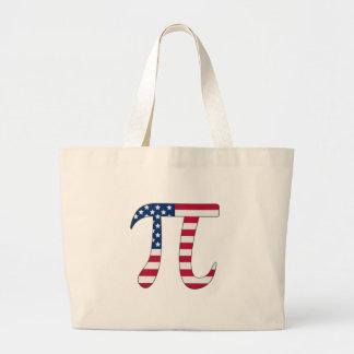 Pi Day American flag, pi symbol Large Tote Bag
