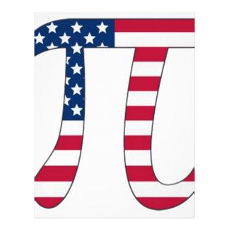 Pi Day American flag, pi symbol Letterhead