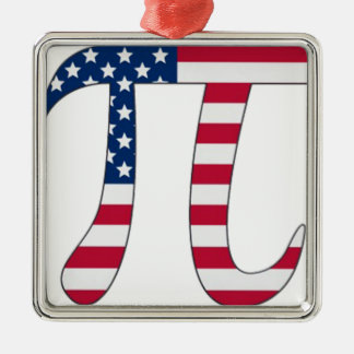 Pi Day American flag, pi symbol Metal Ornament