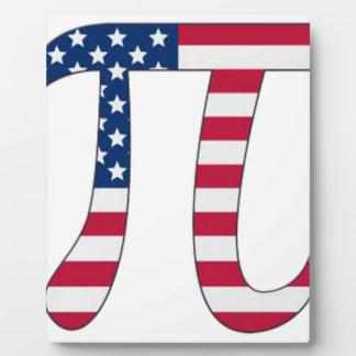 Pi Day American flag, pi symbol Plaque