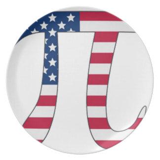 Pi Day American flag, pi symbol Plate