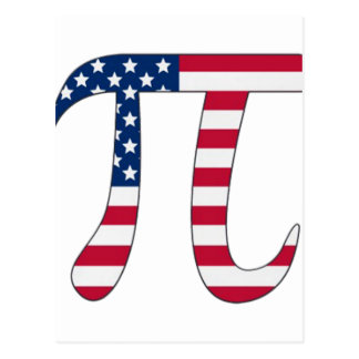 Pi Day American flag, pi symbol Postcard