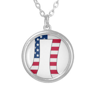 Pi Day American flag, pi symbol Silver Plated Necklace