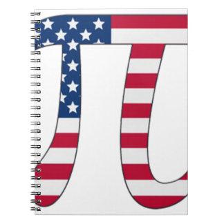 Pi Day American flag, pi symbol Spiral Notebooks