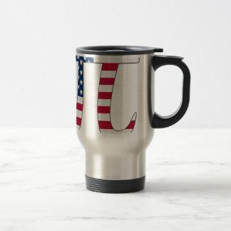 Pi Day American flag, pi symbol Travel Mug