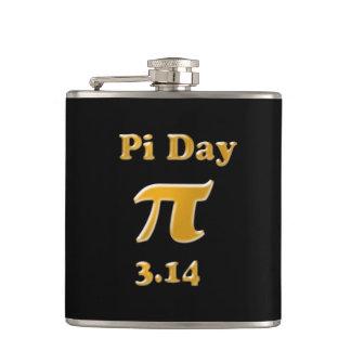 Pi Day Gold on Black Hip Flask