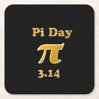 Pi Day Gold on Black Square Paper Coaster
