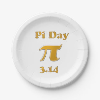 Pi Day Gold on White Paper Plate