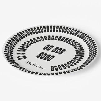pi Digits Math pi= 3.14159 pi Day 2017 black white 9 Inch Paper Plate