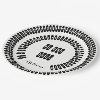 pi Digits Math pi= 3.14159 pi Day 2017 black white Paper Plate