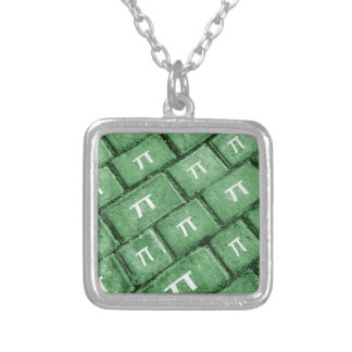 Pi Grunge Style Pattern Silver Plated Necklace
