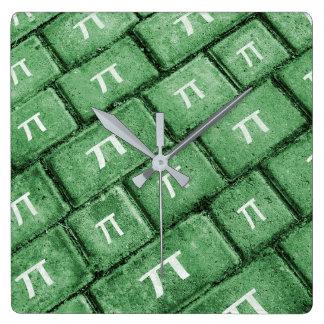 Pi Grunge Style Pattern Square Wall Clock