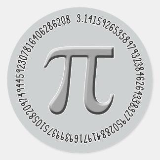 Pi in Silver Classic Round Sticker