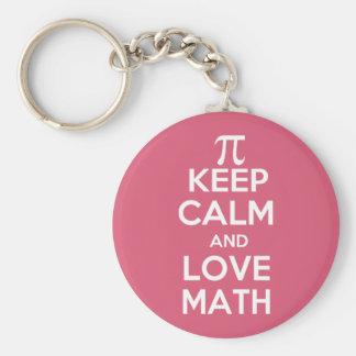 Pi keep calm and love math keychain