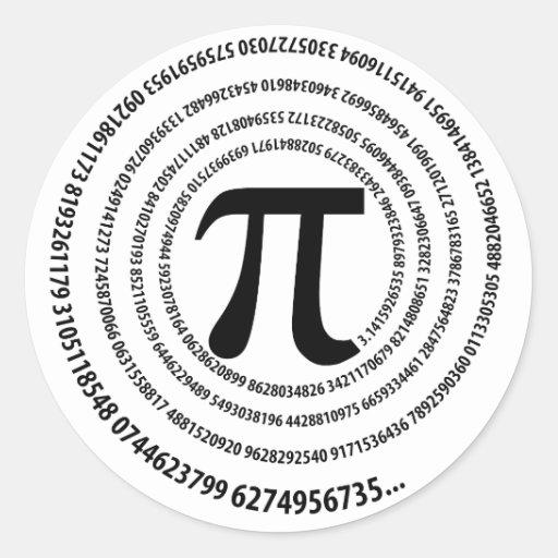 Pi Number Spiral Design Round Sticker