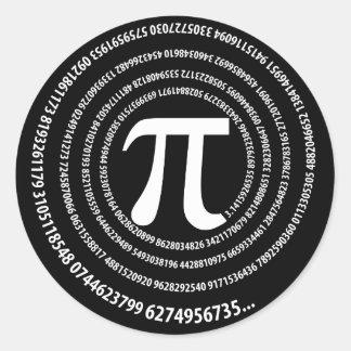 Pi Number Spiral Design Round Stickers