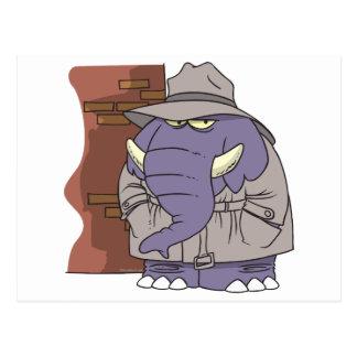 PI private eye spy sneaky elephant Postcard