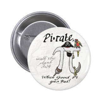 Pi rate Pirate Pi Day Shirts and Gifts 2 Inch Round Button