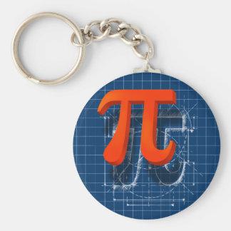 Pi Symbol Art Basic Round Button Keychain