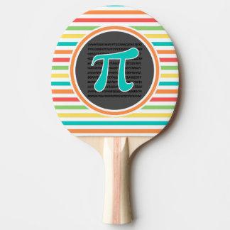 Pi Symbol, Bright Rainbow Stripes Ping Pong Paddle