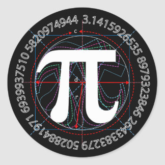 Pi Symbol Drawing Round Stickers