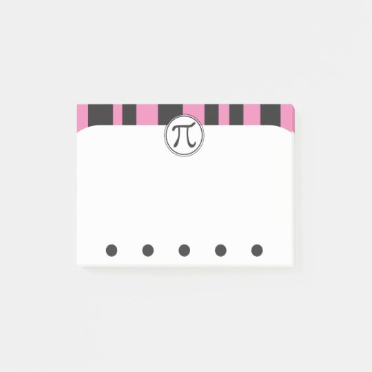 Pi Symbol Math Themed PINK Post-it Notes